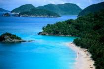 Aerial of Beach Along St. John Island St. John, Virgin Islands